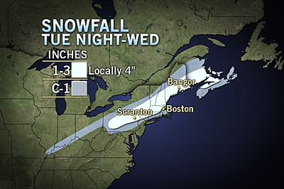 The National Weather Service has issued a winter weather advisory for Danbury, Ridgefield, Weston, Wilton and Redding.
