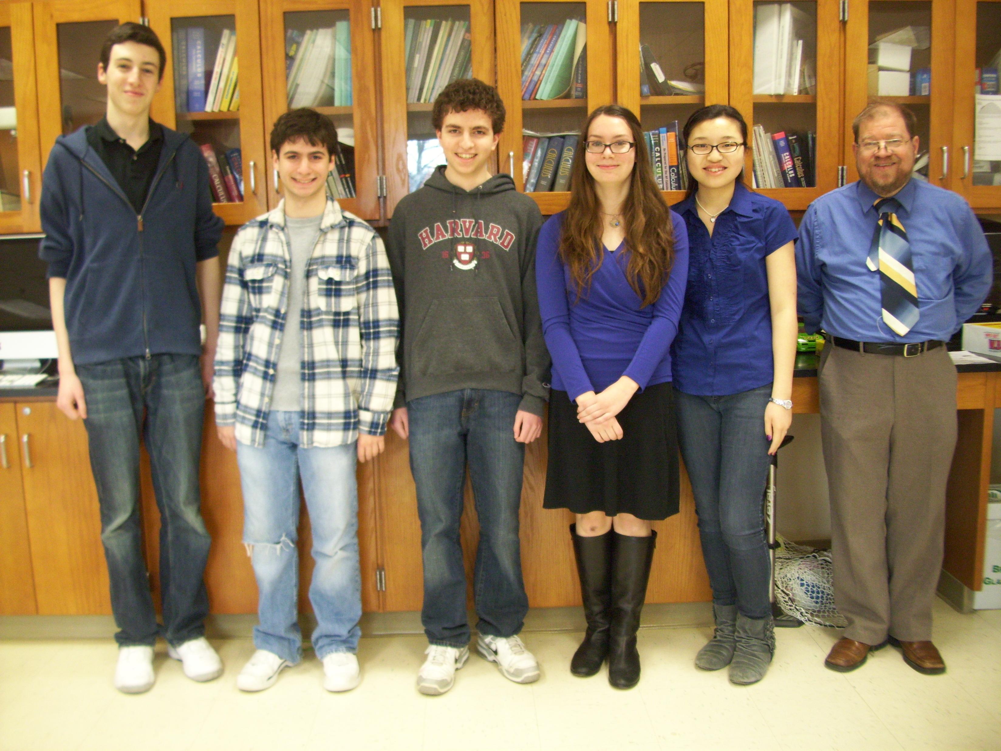 Members of the Joel Barlow Challenge team, from left to right are Nicolo Marzaro, Cooper D'Agostino, Benjamin Lewson, Julia Wargo, Lia Cirelli, and Mr. Ecsedy.