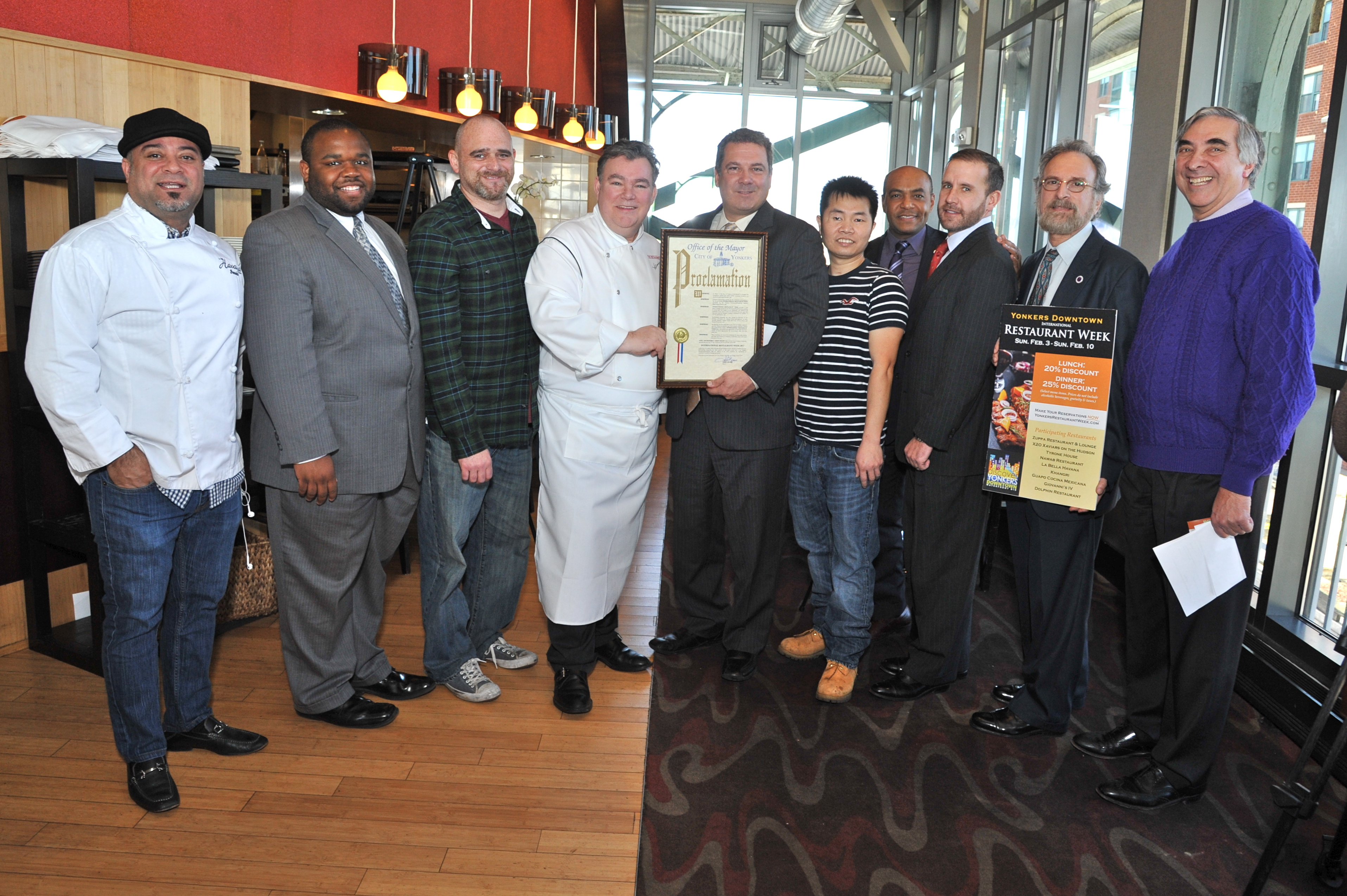 City officials and restaurant owners celebrated the kick-off the Second Annual Yonkers Downtown Business Improvement District's International Restaurant Week.
