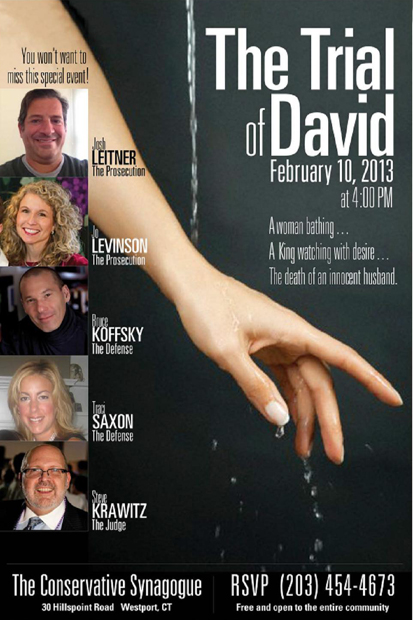 """The Conservative Synagogue of Westport, Weston and Wilton will present """"The Trial of David"""" this Sunday."""