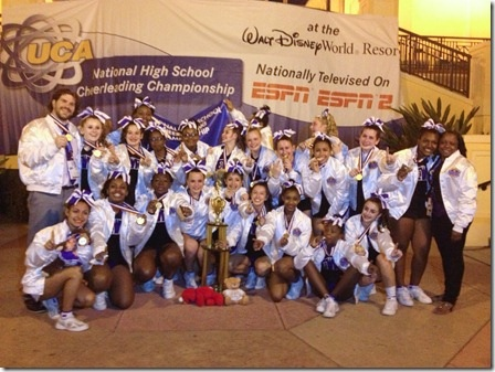 The New Rochelle Varsity and Junior Varsity cheerleading squads both won first place at the UCA National High School Cheerleading Championships in Walt Disney World this weekend.