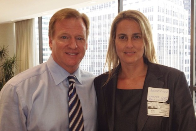 Norwalk's Katherine Snedaker, shown with NFL Commissioner Roger Goodell, has launched a website dedicated to providing information on concussions in women and girls.