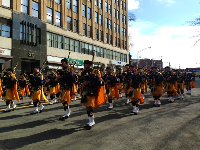 The Westchester Police Emerald Society led the Yonkers St. Patrick's Day parade Sunday.
