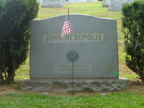 The grave of union leader John Acropolis is set on a hill just inside the Jackson Avenue entrance to Mount Hope Cemetery in Hastings.