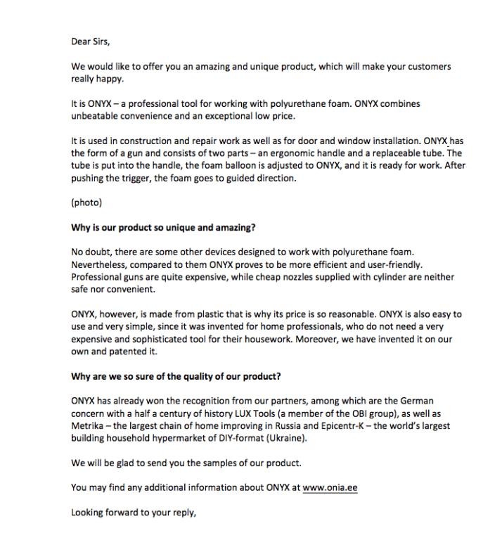 Письмо коммерческое предложение о сотрудничестве