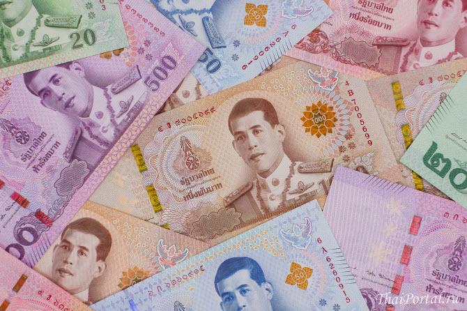 новые банкноты тайского бата с изображением нового короля Таиланда