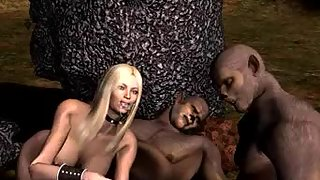 Monster have groupsex with there human blonde sex slave