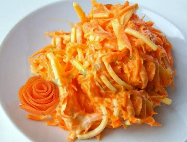 Рецепт салата морковь с сыром и чесноком