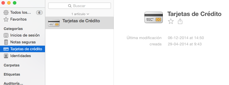 tarjetas de credito 1password