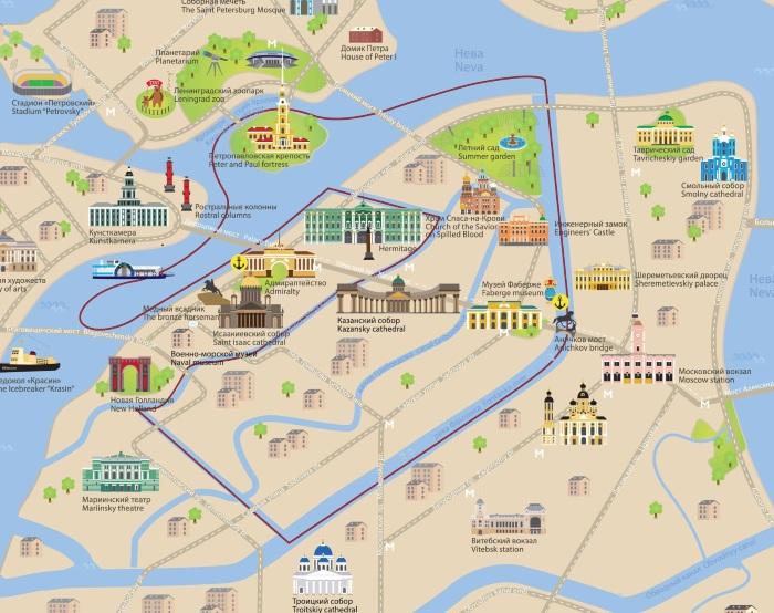 Схема петербурга с достопримечательностями