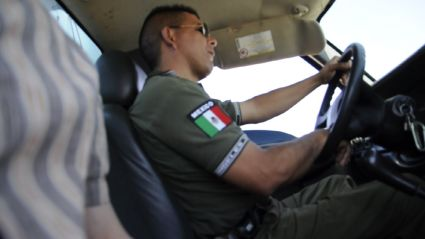 Green Angel driving his truck in Sonora, Mexico