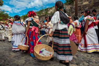 """""""Adelitas"""" in the Mexican Revolution Day parade in Ajijic, Jalisco. Adelita was the name given to women who took part in the Revolution as combatants, medics and camp followers."""