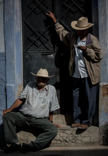 Two Viejitos on the Street in Ajijic, Mexico