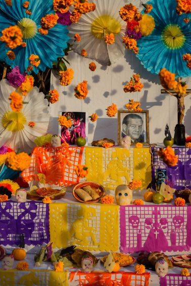 Marigold flowers hang at an altar on the Day of the Dead in Chapala, Mexico.