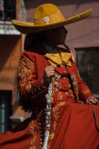 The queen of the 2016 Association of Charros Ajijic, Gaby Gucho, during the Día de la Independencia parade in Ajijic, Jalisco, Mexico.