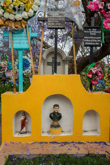 Jesús Malverde and Jesus Christ in the Cemtery, San Juan Cosalá, Mexico