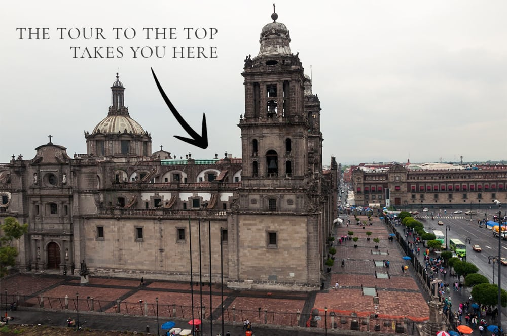 Tour to the top of the Metropolitan Cathedral in Mexico City.