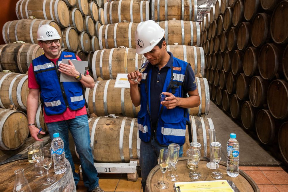 Jesús Reza and Robert Sarstedt create a blend of tequila together at Tequila Cazadores in Arandas, Jalisco, Mexico.