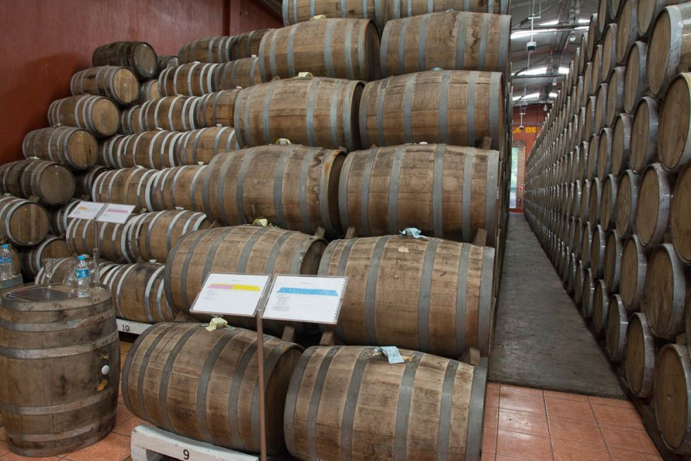 The tequila is aged in oak barrels at Tequila Cazadores in Arrandas, Jalisco, Mexico.