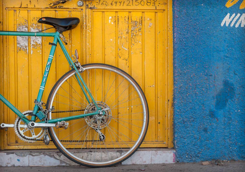 Bike against the wall in Ciudad Obregon, Mexico.