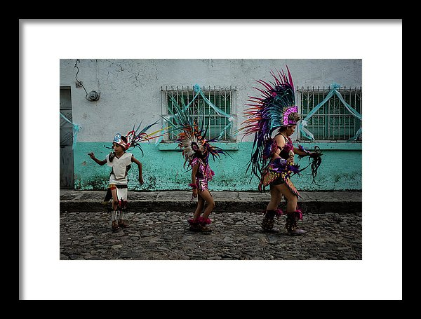 Aztec Dancers during a procession for Our Lady of the Rosary in Ajijic, Jalisco, Mexico