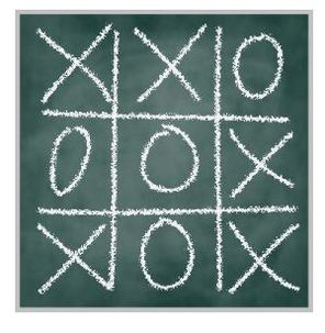 Green Board with tic-tac-toe game drawn with chalk