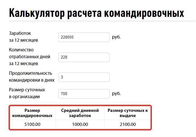 Калькулятор расчёта средней заработной платы
