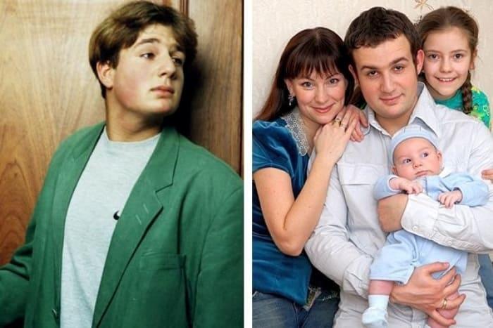 Александр Нестеров в сериале *Простые истины* и в наши дни с семьей | Фото: vokrug.tv