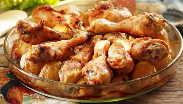 Окорочка с картошкой с сыром в духовке