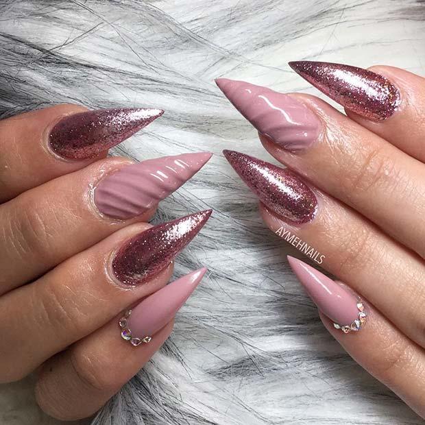 Bright pointy nails