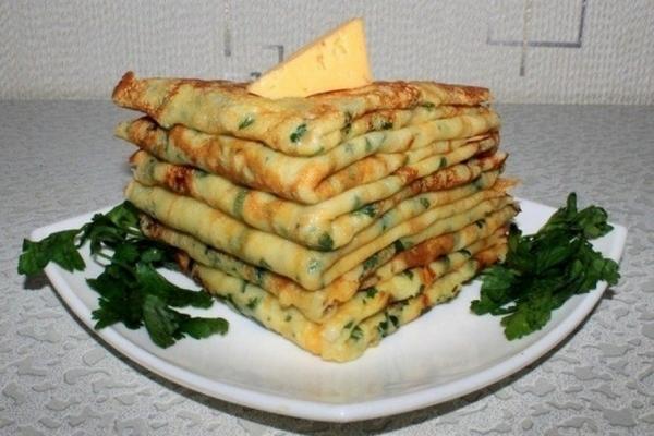 Блинчики с сыром и петрушкой