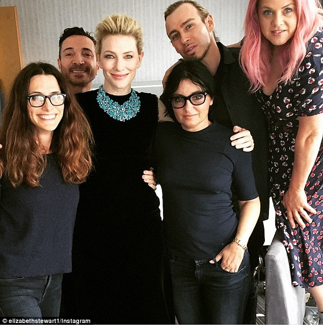 Her team: Cate's celebrity stylistElizabeth Stewart shared this shot of the Australia beauty surrounded by her glam squad just before she released onto the red carpet