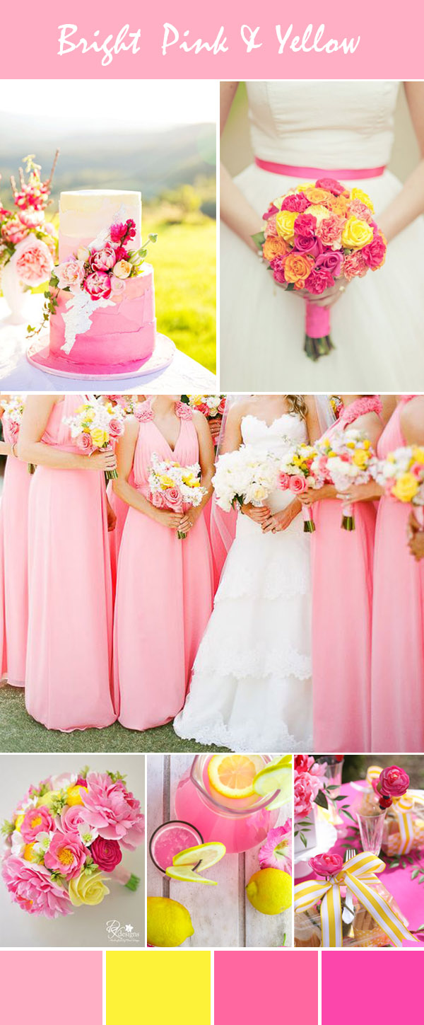 elegant bright pink and yellow wedding inspiration