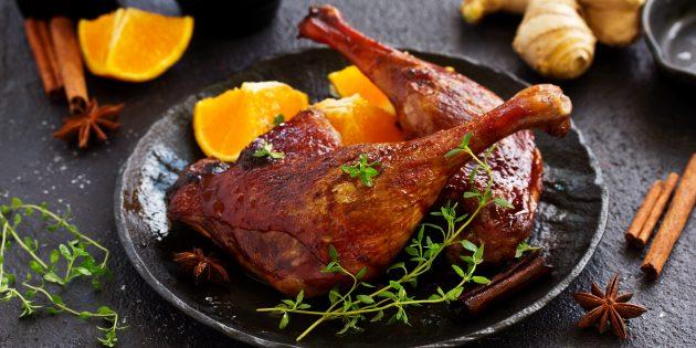 утка в духовке с цитрусовыми и винным уксусом