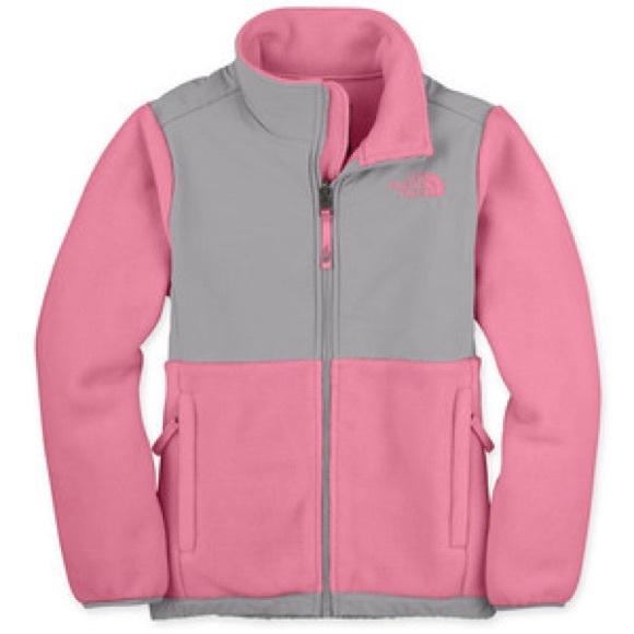 Pink and grey north face jacket