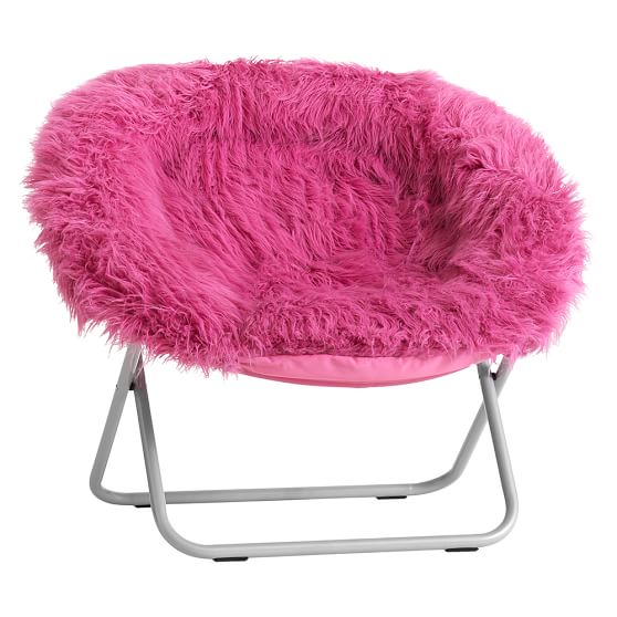 Pink furry chair