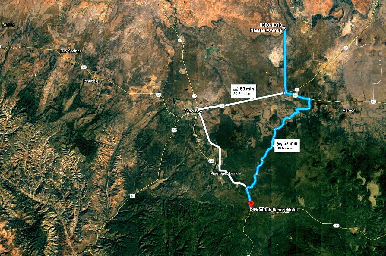Map Showing Distance to Hondah Casino from the Lot in Show Low Pines