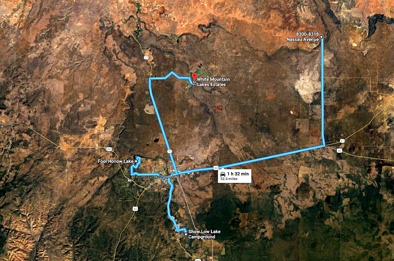 Map Shoowing the Lakes near the Lot Outside of Show Low Arizona