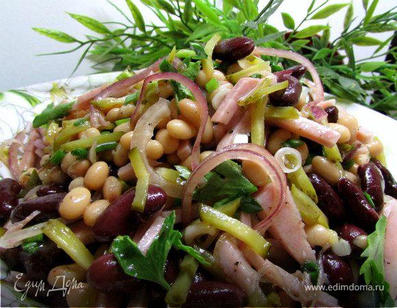 Рецепт салат с фасолью и ветчиной с фото