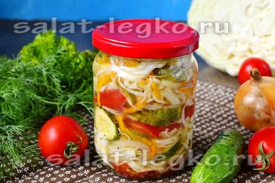 Салат на зиму из капусты, огурцов и помидоров