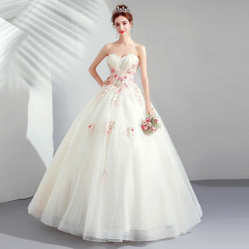 Pink and white wedding dresses cheap