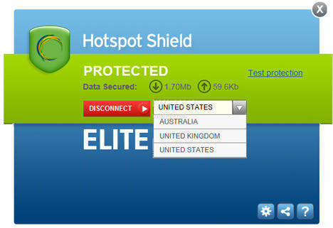 Hotspot Shield freeware screenshot