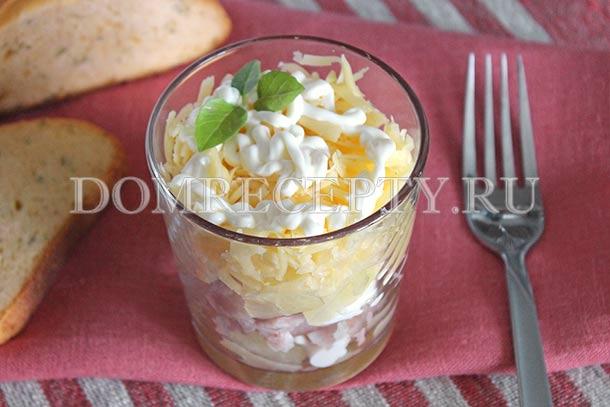 Салат с ананасами слоеный рецепт с фото