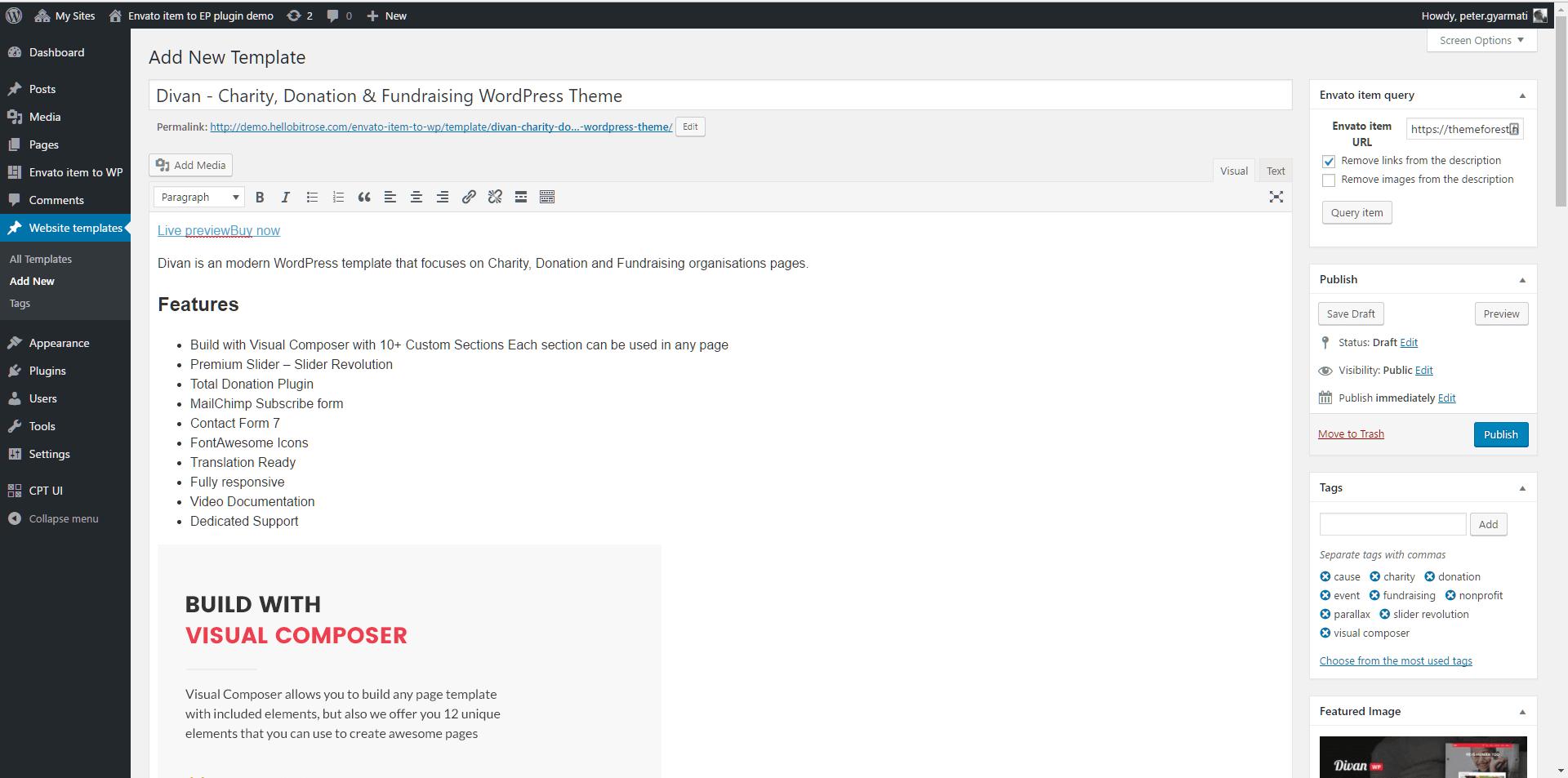 Fetched envato item in WordPress custom post type