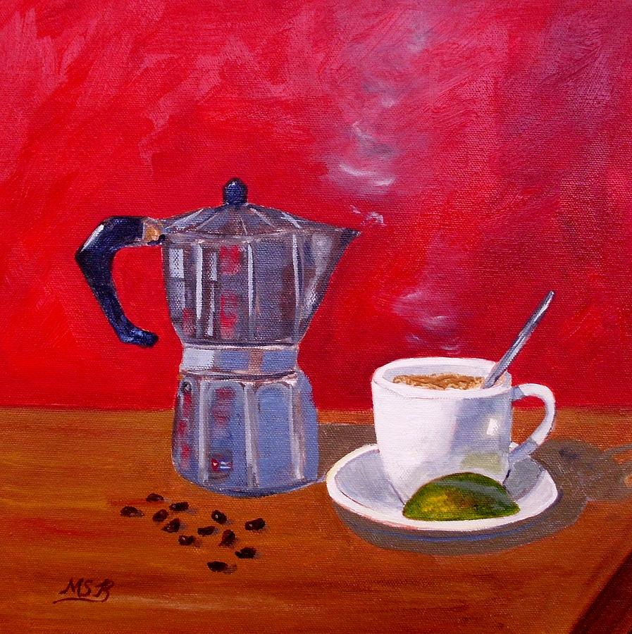 The cuban cafetera, painting by Maria Soto-Robbins