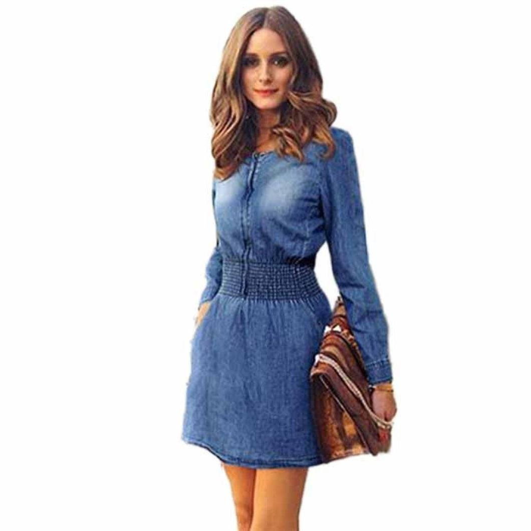 Women Dress, ? Ninasill ? Hot Sale ! Vintage Spring Women Long Sleeved Slim Casual Denim Jeans Party Mini Skirt Blouse Tops (M, Blue)