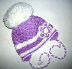 сиреневая зимняя шапка своими руками