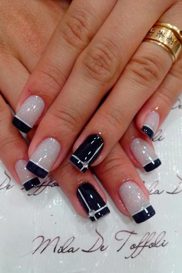 French tip nails with different colors