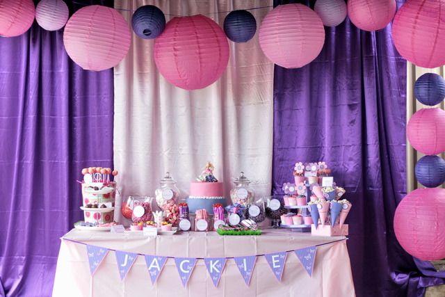 Pink purple birthday party ideas