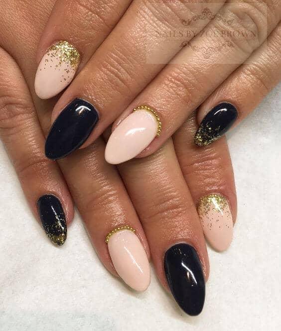 Black and Blush creative nails
